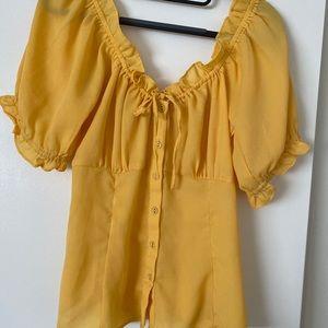 ASOS yellow trendy peasant style top